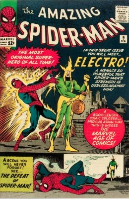 Origin and First Appearance, Electro, Amazing Spider-Man #9, Marvel Comics, 1964. Click for value