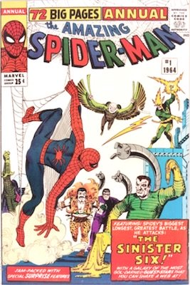Amazing Spider-Man Annual #1: First appearance of the Sinister Six (Vulture, Sandman, Electro, Kraven, Doctor Octopus and Mysterio). Click for values