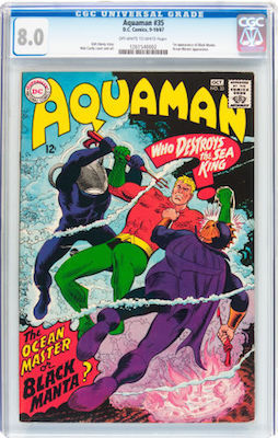 You'll see a lot of copies of Aquaman #35 in ragged shape. A nice CGC 8.0 is affordable and more likely to appreciate. Click to buy