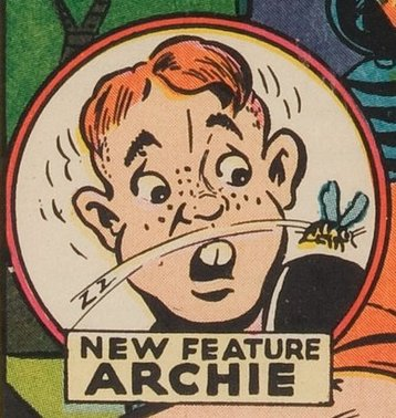 The goofy, loveable typical American teenager, Archie Andrews, first appeared on the front cover of Jackpot Comics #4, almost two years before his full body appearance on PEP #36