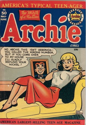 Archie Comics #50: Classic Betty 'headlights' cover. Click for value