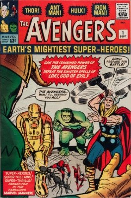 Origin and First Appearance, The Avengers, The Avengers #1, Marvel Comics, 1963. Click for values