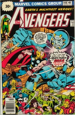 Avengers #149 30 Cent Price Variant July, 1976. Starburst Blurb