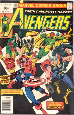 Avengers #150 30 Cent Price Variant August, 1976. Square Blurb