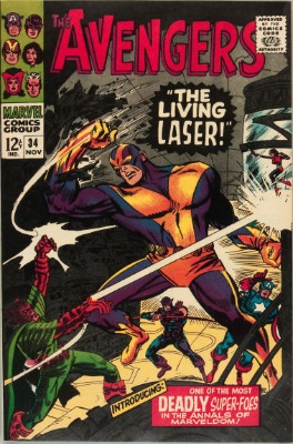Origin and First Appearance, Living Laser, Avengers #34, Marvel Comics, 1966. Click for value