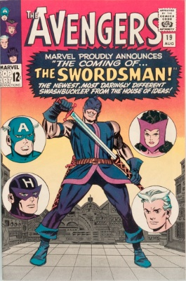 Origin and First Appearance, Swordsman, Avengers #19, Marvel Comics, 1965. Click for value