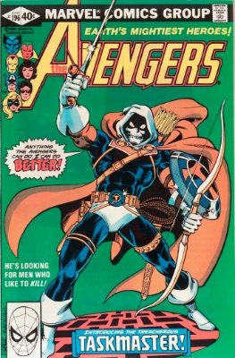 Origin and First Appearance, Taskmaster, Avengers #196, Marvel Comics, 1980. Click for value