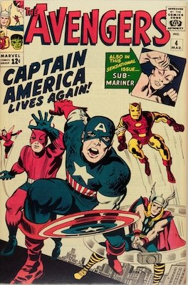 Avengers #4: Revival of Captain America from the Golden Age. Click for value