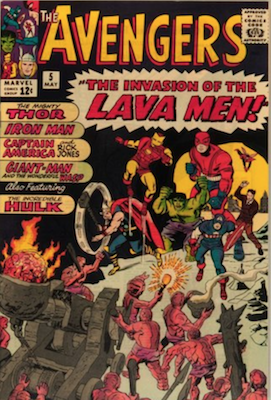 Avengers #5: early Silver Age issue, Hulk appears. Click for value