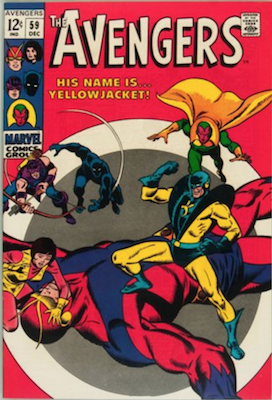 Avengers #59: First appearance of Yellowjacket (future husband of the Wasp). Click for values