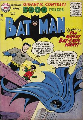 Batman loses his cape... It must have been a slow month. Click to check values