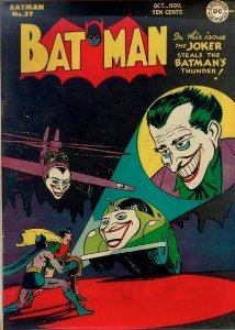 Batman #37, classic Joker cover mimicking Bat signal