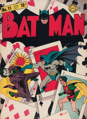Batman Comics #11: Classic Joker cover. Click for values
