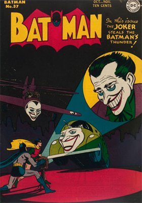 Batman #37: Classic Joker signal cover. Click for values