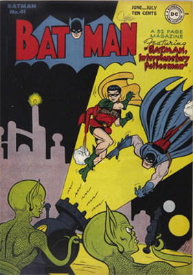 Batman Comic #41, a sci-fi themed cover with little green men. Click for value