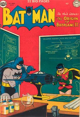 Batman #61, October 1950; First Appearance, Batplane II. Click for value