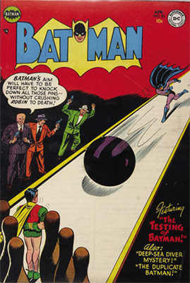 Batman #83, Batman goes bowling. Click for value