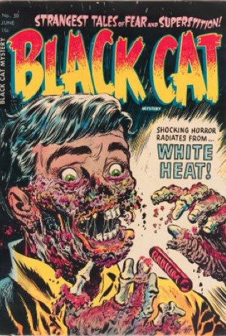 #3 most gross comic cover: Black Cat Mystery #50. Radiation-rotted corpse cover! Click for value