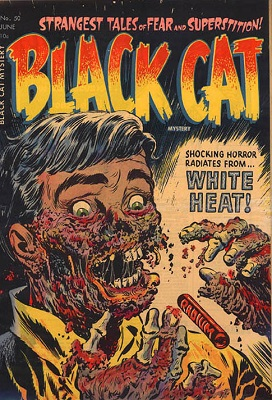Black Cat Mystery #50 (1954): Explicit Radium-Rotted Corpse cover. Click for values