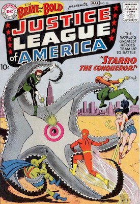 Brave and the Bold #28 (March 1960): Origin and First Appearance, Justice League of America. One of the most valuable silver age comics. Click for values