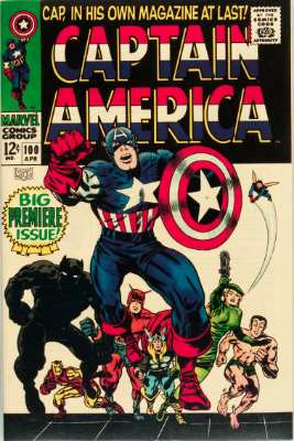 Captain America #100: First in new solo series, classic cover. Click for values