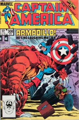 Origin and First Appearance, Armadillo, Captain America #308, Marvel Comics, 1985. Click for value