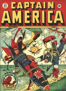 Captain America #32 Bucky tied to A-Bomb and dropped from the sky! Some collectors favor covers featuring atom bombs.