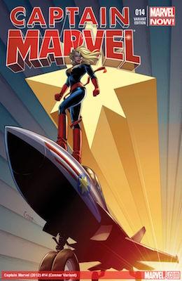 Captain Marvel #14 (2013) Variant Edition. 1st Cameo of Kamala Kahn as Ms. Marvel. Click for value
