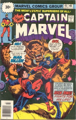Captain Marvel #45 30 Cent Variant July, 1976. Starburst Blurb