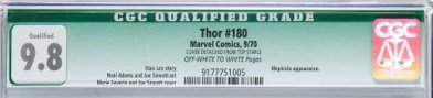 An example of a CGC qualified grade, awarded to a comic that is at a grade but has something worth noting, like this detached staple