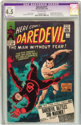 The dreaded CGC purple label indicates that a comic book has had restoration detected