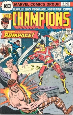 Champions #5 Marvel 30c Price Variants April, 1976. Starburst Blurb