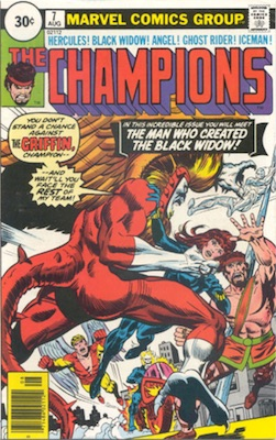 Champions #7 30 Cent Price Variant August, 1976. Circle Blurb