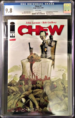As with all modern books, Chew #1 is best collected in CGC 9.8 only. Click to buy a copy