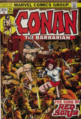 Conan the Barbarian #24: First Red Sonja Cover appearance. Click for value