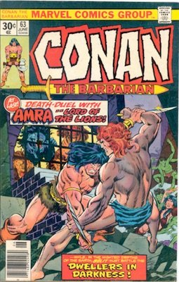 Conan #63 Marvel 30c Price Variant June, 1976. Regular Blurb