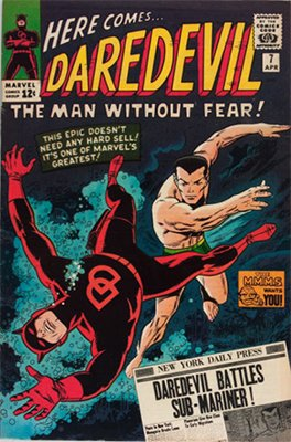 Daredevil #7: 1st red and black costume; scarce in high grade. Click for values
