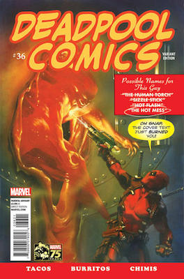 Deadpool (2013) #36 Variant. Cover swipe from Marvel Comics #1 of 1939. Click for values