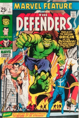 First Appearance, the Defenders, Marvel Feature #1, Marvel Comics, 1971. Click for value