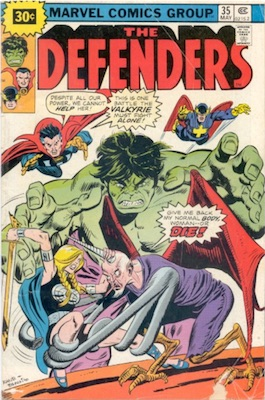 Defenders #35 Marvel 30c Price Variant May, 1976. Starburst Price
