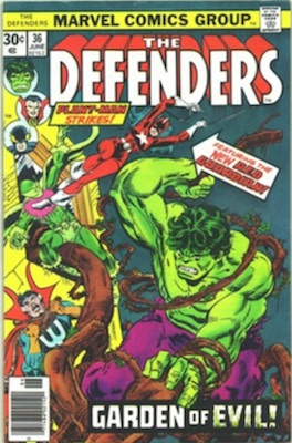Defenders #36 30 Cent Price Variant June, 1976. Regular Price Box