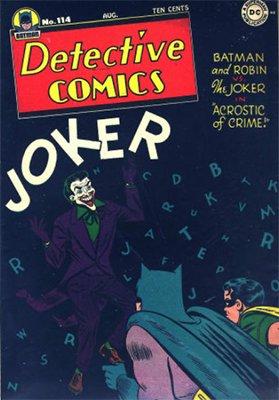 Joker comics: Detective Comics #114, classic Joker cover