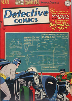 Detective Comics #156 (February 1950): First Classic Batmobile. Click for values