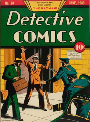Detective #28, the second appearance of Batman, but he's not on the cover. Click for value