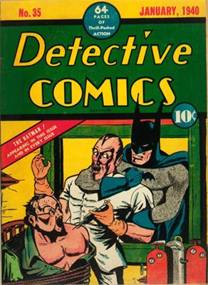 Detective Comics #35 features a classic bondage, hypodermic and strangulation cover!
