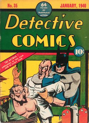 Detective Comics #35: Classic hypodermic bondage cover. Click for values