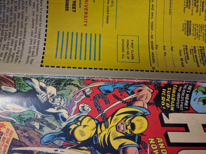 Fake copy of Incredible Hulk 181: The 'wear' is the exact same color as the paper, which in real life doesn't happen -- the exposed paper fibers tend to brown and age, or accumulate dirt.