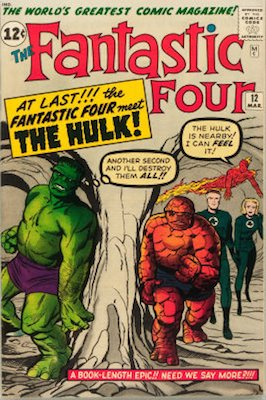 Fantastic Four #12 (Mar 1963): First Silver Age Thing vs Hulk Battle. Click for values