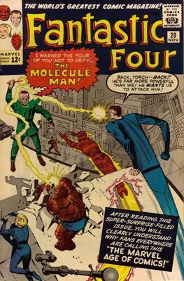 Origin and First Appearance, Molecule Man, Fantastic Four #20, Marvel Comics, 1963. Click for value