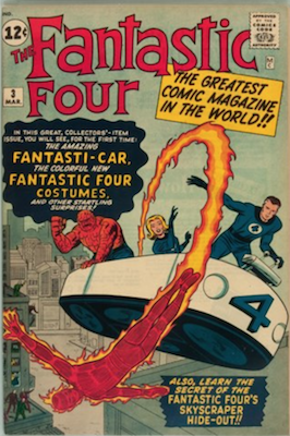Fantastic Four #3 (Mar 1962): First FF Costumes and HQ. Silver Age #30 on most valuable comics list. Click for values